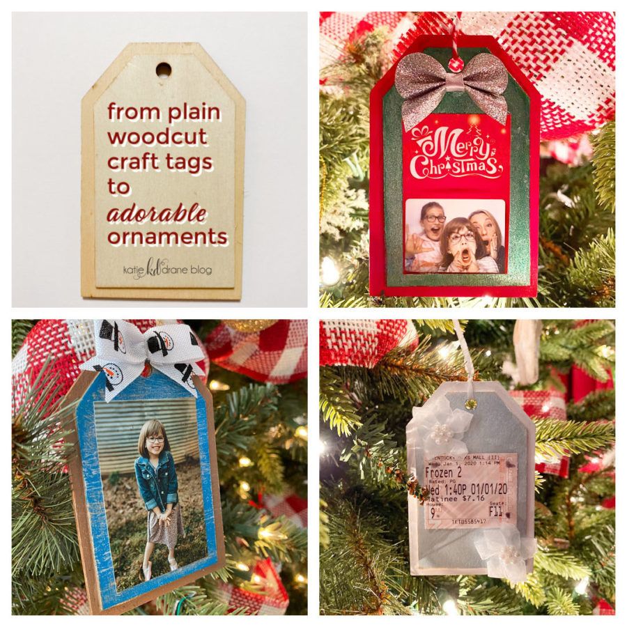 woodcut craft tag ornaments
